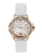 SEIKO Women Silver-Toned Dial Watch with Swarovski Elements SUR800P1