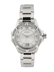 SEIKO Women Silver-Toned Dial Watch with Swarovski Elements SUR809P1