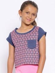 YK Girls Blue Printed Boxy T-shirt