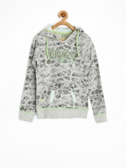 Jn Joy Girls Grey Printed Hooded Sweatshirt