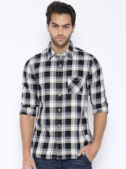 United Colors of Benetton Black Flaannel Checked Casual Shirt