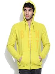 United Colors of Benetton Lemon Yellow Printed Hooded Sweatshirt