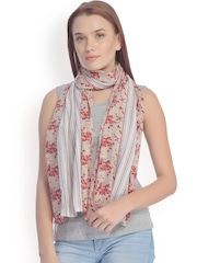 CoolThreads Beige & Red Printed Stole