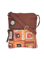 Anekaant Brown Printed Canvas Sling Bag