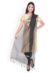 Dupatta Bazaar Black Self-Checked Silk Dupatta