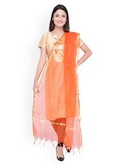 Dupatta Bazaar Orange Self-Checked Silk Dupatta