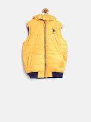 U.S. Polo Assn. Kids Boys Yellow Reversible Sleeveless Puffer Jacket