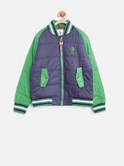 U.S. Polo Assn. Kids Boys Navy & Green Bomber Jacket