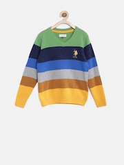 U.S. Polo Assn. Kids Boys Multicoloured Striped Sweater