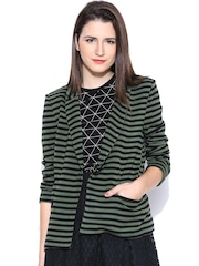 United Colors of Benetton Green Striped Single-Breasted Blazer