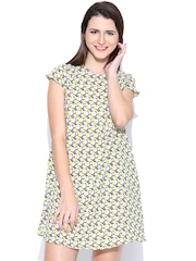 United Colors of Benetton Grey Printed A-Line Dress