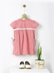 Pluie Girls Pink Printed A-Line Dress