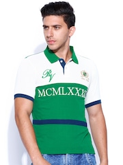 Proline Varsity Green & Off-White Comfort Fit Polo T-shirt