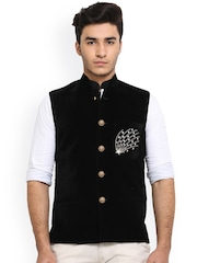 Shaftesbury London Black Velvet Nehru Jacket