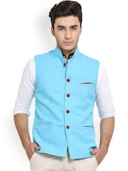Shaftesbury London Blue Jute Nehru Jacket