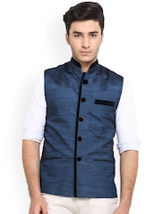 Shaftesbury London Blue Silk Nehru Jacket