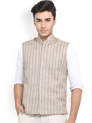 Shaftesbury London Beige Striped Jute Nehru Jacket
