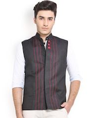Shaftesbury London Black Jute Nehru Jacket