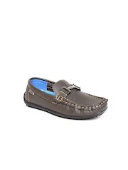 Kittens Boys Brown Textured Loafers