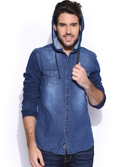 Being Human Clothing Blue Hooded Slim Denim Shirt
