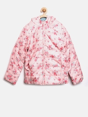 United Colors of Benetton Girls Pink & Blue Reversible Hooded Jacket