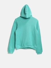 United Colors of Benetton Girls Mint Green Hooded Sweatshirt