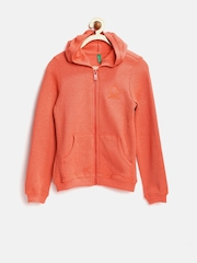 United Colors of Benetton Girls Fluorescent Orange Hooded Sweatshirt