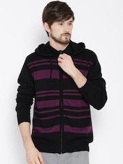 PUMA Black Striped Hooded Cardigan