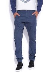 Flying Machine Blue Slim Cargo Trousers