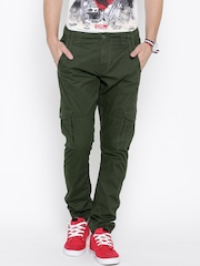 Flying Machine Olive Green Slim Cargo Trousers