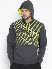 PUMA Charcoal Grey Printed Hooded Sweatshirt