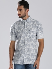 French Connection White & Blue Printed Casual Shirt