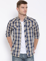 Lee Blue Checked Casual Shirt