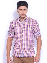 Lee Purple & White Checked Casual Shirt