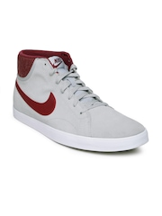 Nike Men Grey & Maroon Suede Casual Shoes