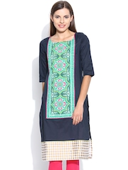 W Navy Printed Panelled Kurta