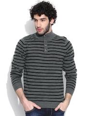 Flying Machine Grey Melange Striped Sweater