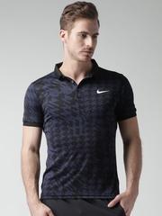 Nike Black & Blue Printed Polo T-shirt