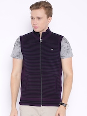 Arrow Sport Purple & Black Striped Sleeveless Sweater