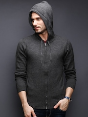 BLEND Charcoal Grey Hooded Cardigan