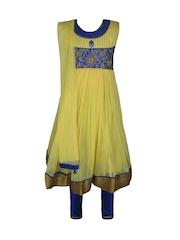 Jazzup Girls Cream-Coloured & Blue Anarkali Churidar Kurta with Dupatta