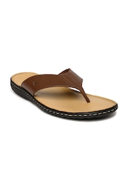 Louis Philippe Men Brown Leather Sandals