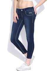 Pepe Jeans Navy Washed Shimmer Ankle-Length Jeans