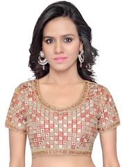 SURAT TEX Red & Gold-Toned Embroidered Saree Blouse