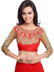 SURAT TEX Red Embroidered Saree Blouse