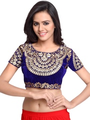 SURAT TEX Blue & Gold-Toned Velvet Embroidered Saree Blouse