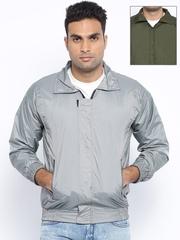 Vercelli Grey & Olive Green Reversible Rain Jacket