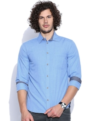 Slub Blue Casual Shirt