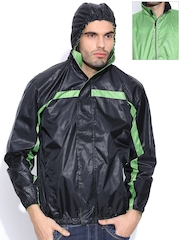 Sports52 wear Black & Green Comfort Fit Reversible Hooded Printed Wind Cheater Jacket
