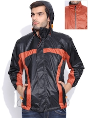 Sports52 wear Black & Orange MRW007 Comfort Fit Reversible Hooded Printed Wind Cheater Jacket
